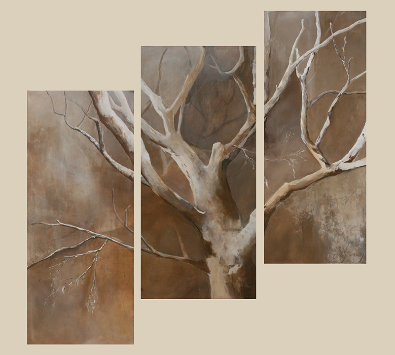 female tree gauguery painting tryptique arbre st tropez grand format